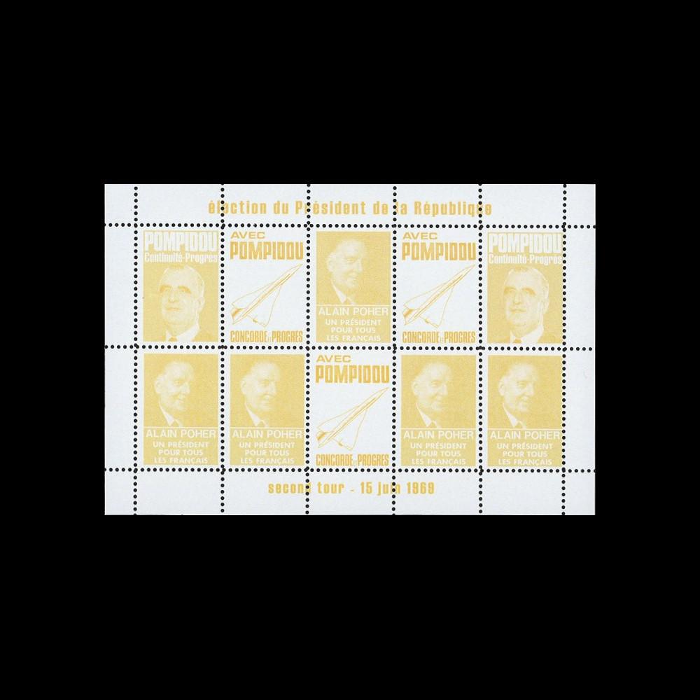 """PRES69-JA : 1969 - Vignettes dentelées """"Poher-Pompidou / Concorde"""" - jaune"""
