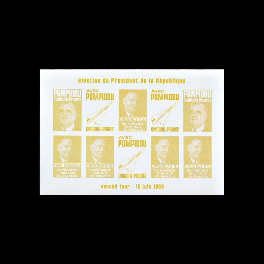 """PRES69-JA-ND : 1969 - Vignettes non-dentelées """"Poher-Pompidou / Concorde"""" - jaune"""