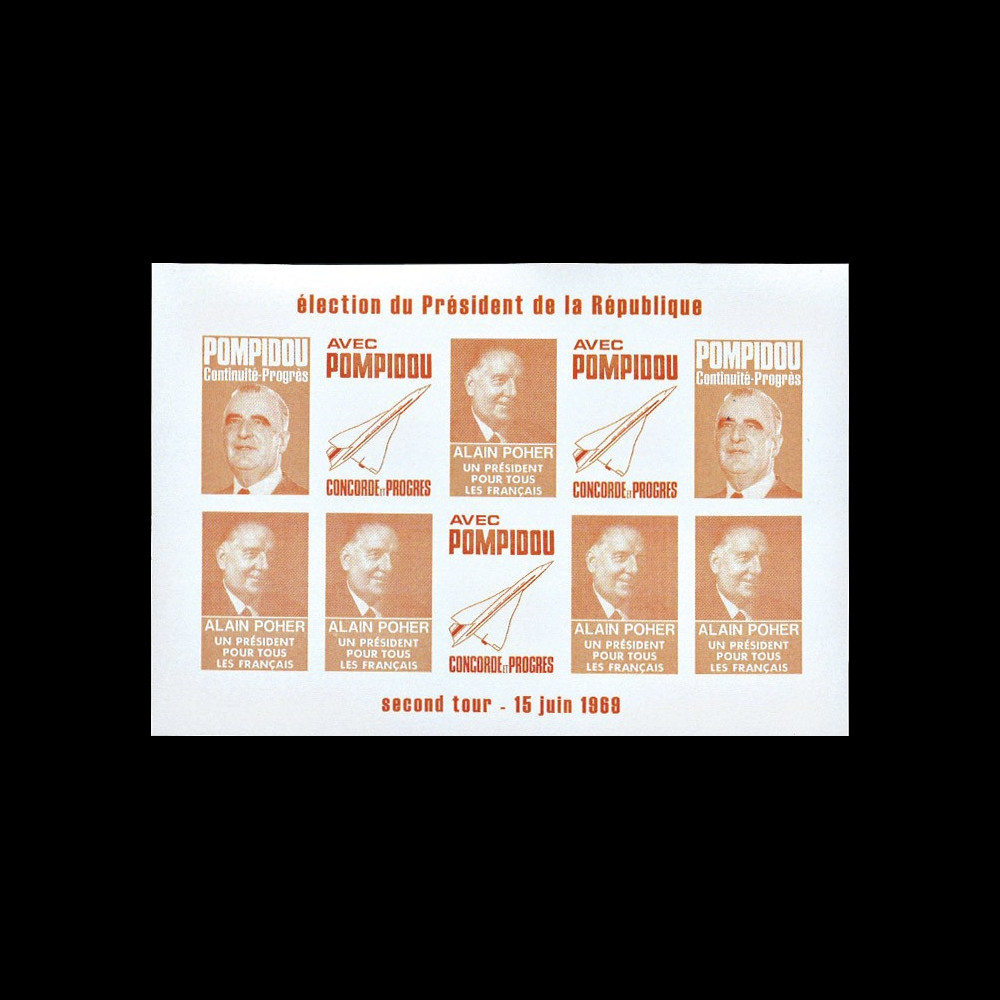 "PRES69-OR-ND : 1969 - Vignettes non-dentelées ""Poher-Pompidou / Concorde"" - orange"
