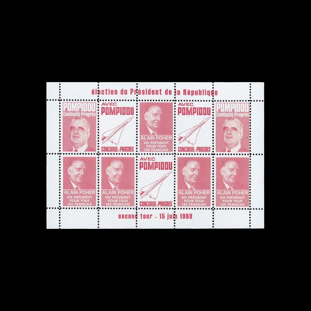 "PRES69-RO : 1969 - Vignettes dentelées ""Poher-Pompidou / Concorde"" - rose"