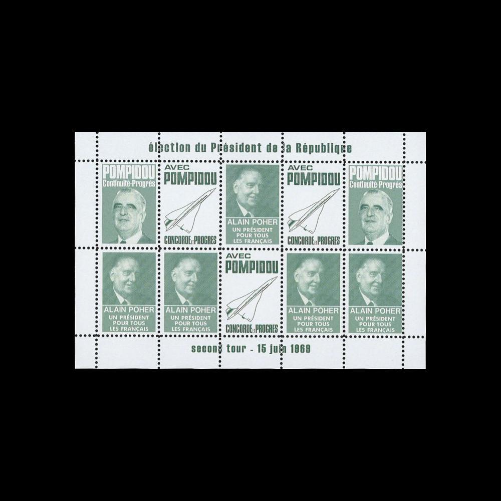 """PRES69-VF : 1969 - Vignettes dentelées """"Poher-Pompidou / Concorde"""" - vert foncé"""