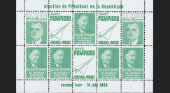 """PRES69-VC : 1969 - Vignettes dentelées """"Poher-Pompidou / Concorde"""" - vert clair"""