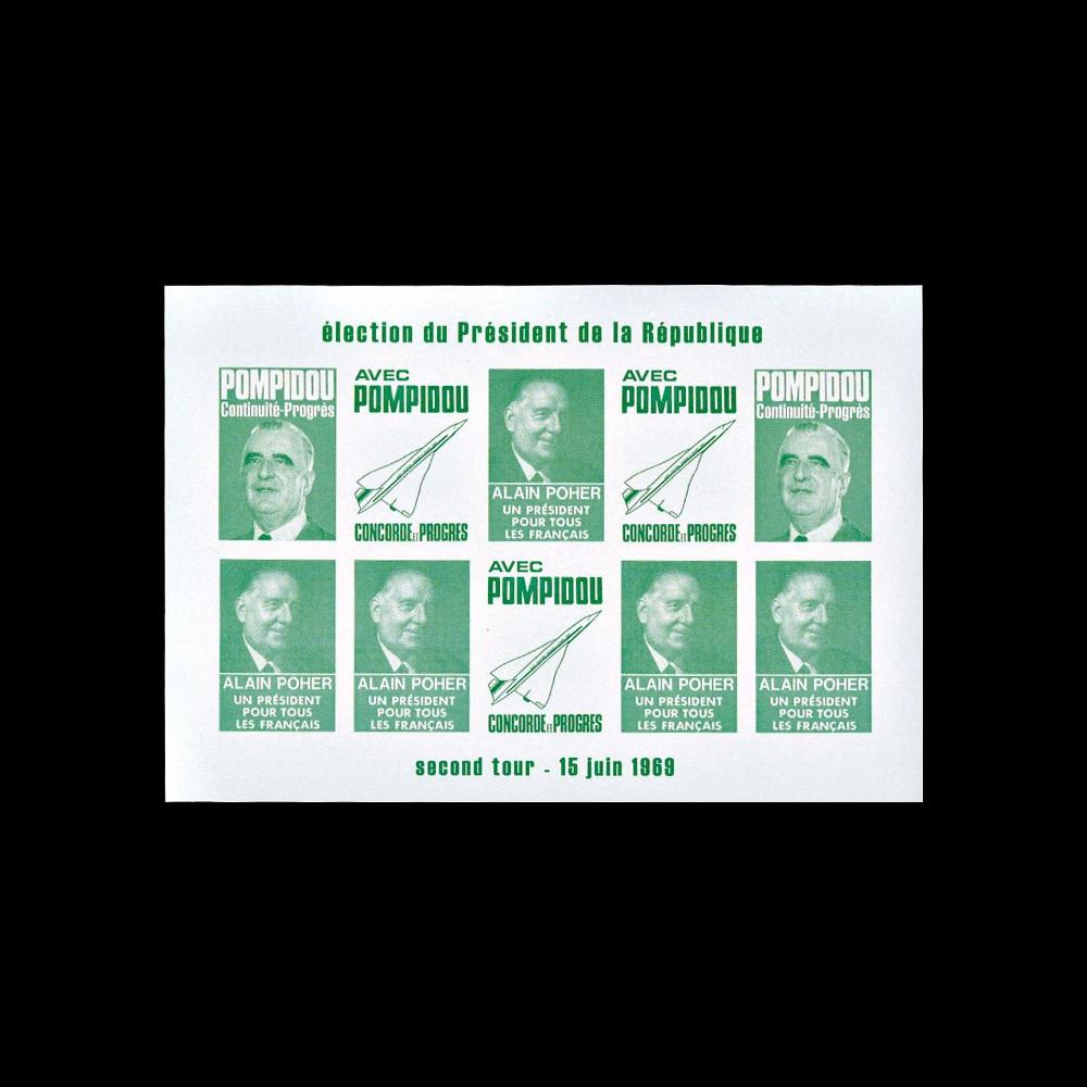"""PRES69-VC-ND : 1969 - Vignettes non-dentelées """"Poher-Pompidou / Concorde"""" - vert clair"""