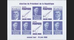 """PRES69-VI-ND : 1969 - Vignettes non-dentelées """"Poher-Pompidou / Concorde"""" - violet"""