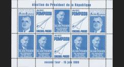 """PRES69-BC : 1969 - Vignettes dentelées """"Poher-Pompidou / Concorde"""" - bleu clair"""