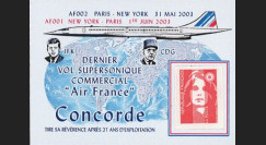 "CO-RETV3N1 : 2003 - FRANCE porte-timbre ""Dernier vol commercial Concorde Air France"""
