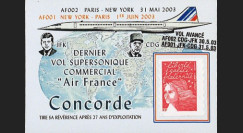 "CO-RETV3N2 : 2003 - FRANCE porte-timbre ""Dernier vol commercial Concorde Air France"""