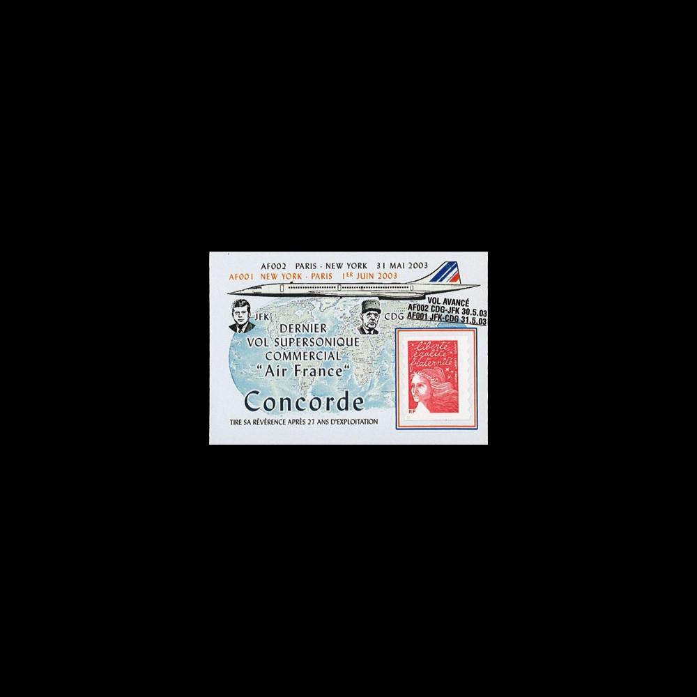"""CO-RETV3N2 : 2003 - FRANCE porte-timbre """"Dernier vol commercial Concorde Air France"""""""
