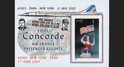 "CO-RETV3N3 : 2003 - USA porte-timbre ""Dernier vol commercial Concorde Air France"""