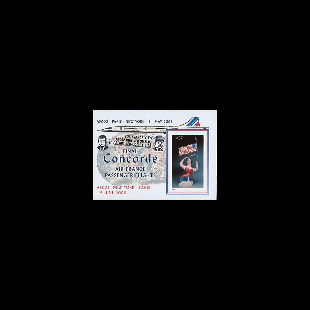 "CO-RETV3N3 : 2003 - USA porte-timbre ""Dernier vol commercial Concorde Air France"""