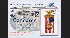 "CO-RETV3N5 : 2003 - USA porte-timbre ""Dernier vol commercial Concorde Air France"""