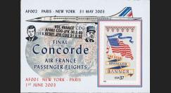 "CO-RETV3N7 : 2003 - USA porte-timbre ""Dernier vol commercial Concorde Air France"""