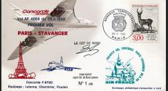 """CO88-6STAVD1 : Pli voyagé Concorde F-BTSD """"1er vol AF 4866 Paris-Stavanger"""