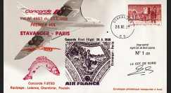 """CO88-6STAVD2 : Pli voyagé Concorde F-BTSD """"1er vol AF 4867 Stavanger-Paris"""