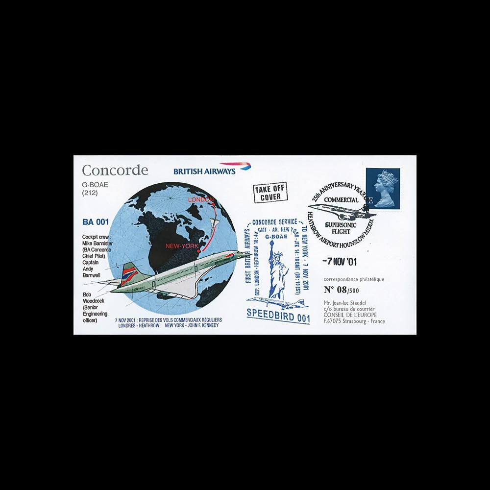 "G-BOAE7/11 : GB Pli spécial ""Reprise des vols Concorde British Airways Londres-NY 7.11.01"""