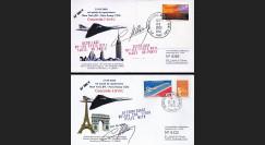 """CO85-389V-D : 2 plis signés """"Crash de Concorde - Vol de rapatriement NY-Paris 21.9.2000"""""""