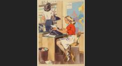 """W2-AL0502 : 1944 - CP ALLEMAGNE """"La sténo-dactylo - Machine à écrire - Carte Europe"""""""