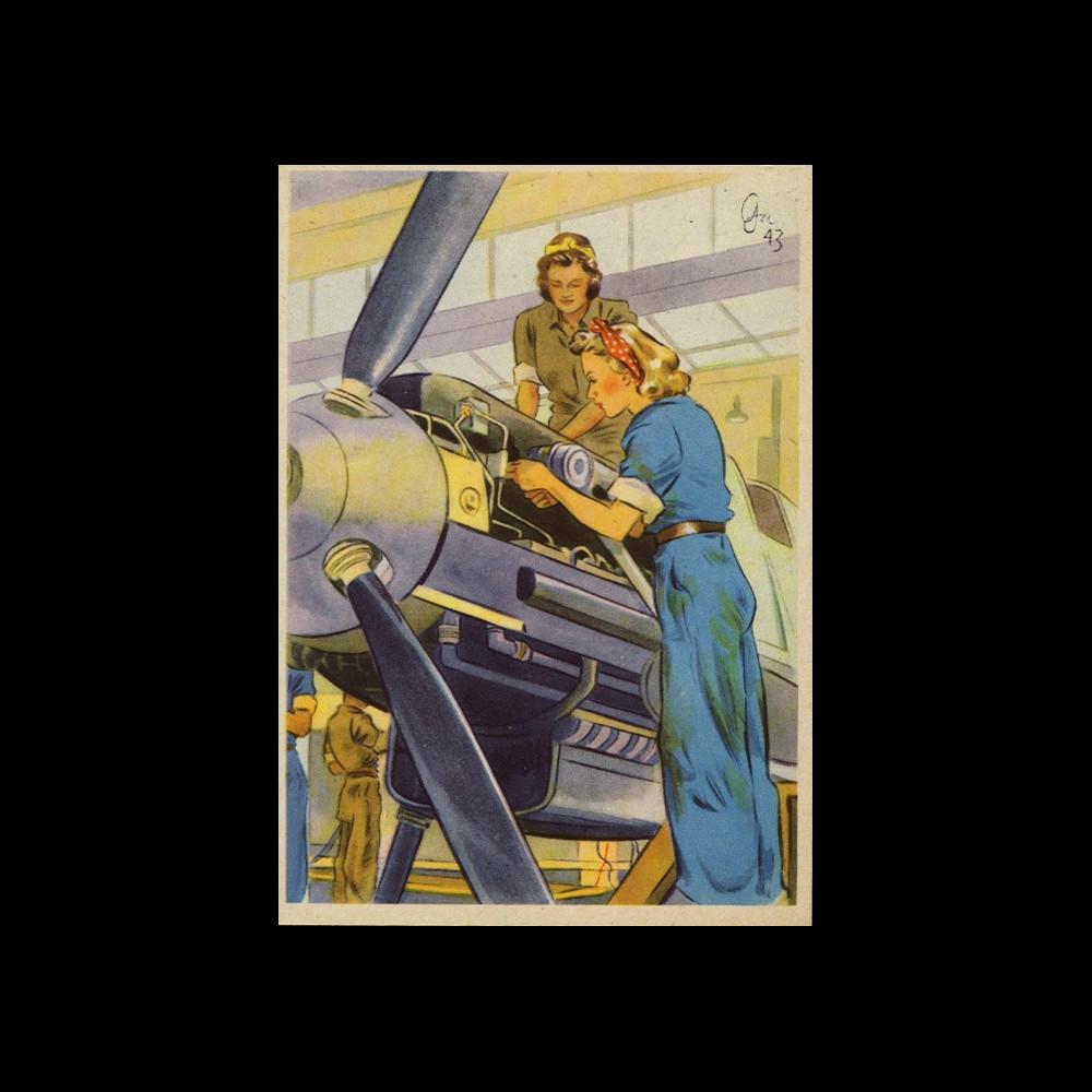 """W2-AL0504 : 1944 - CP ALLEMAGNE """"Mécanicienne pour avion de chasse"""""""