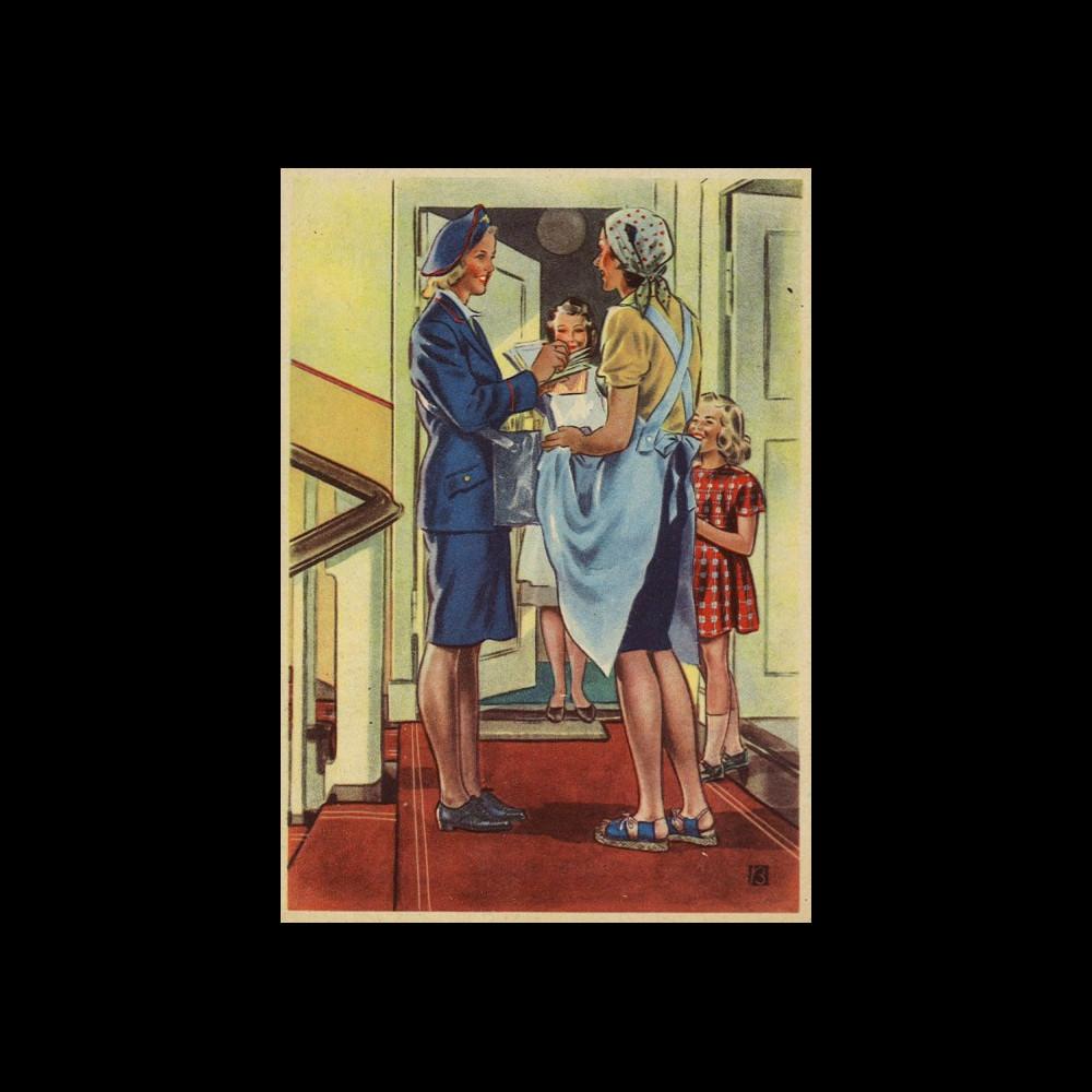 """W2-AL0506 : 1944 - CP ALLEMAGNE """"La factrice - Distribution du courrier"""""""