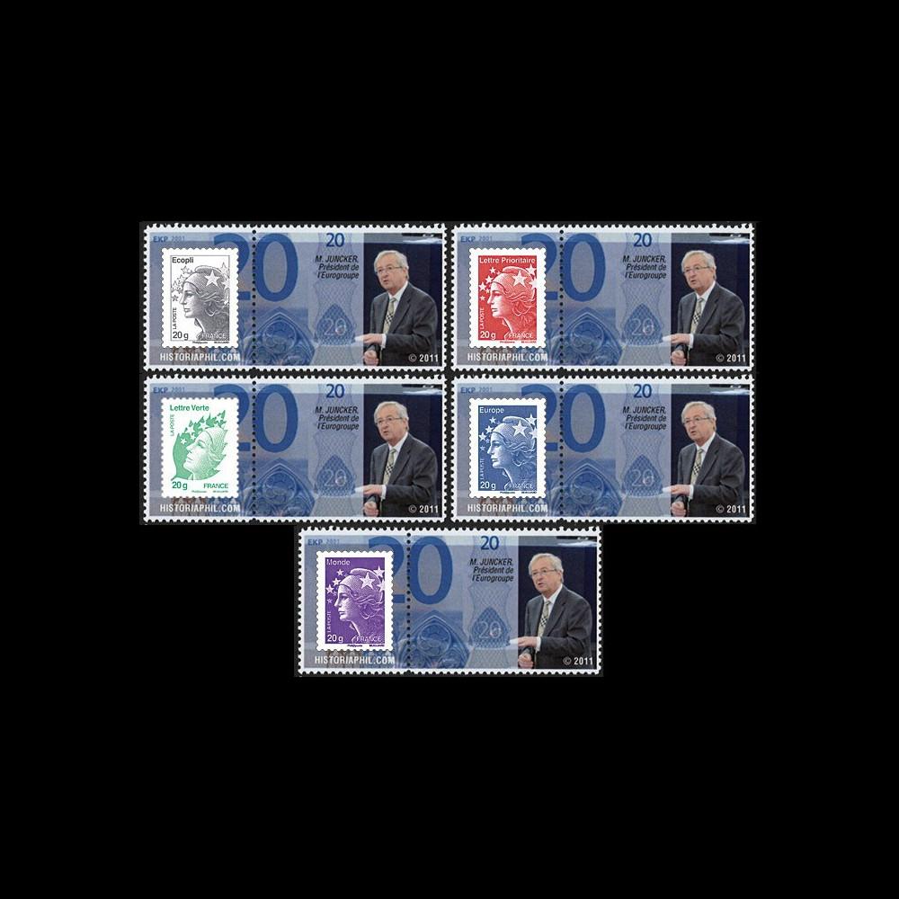 """PE609-PT1-5 : 2011 - 5 porte-timbre """"Parlement eur. : M. Juncker"""
