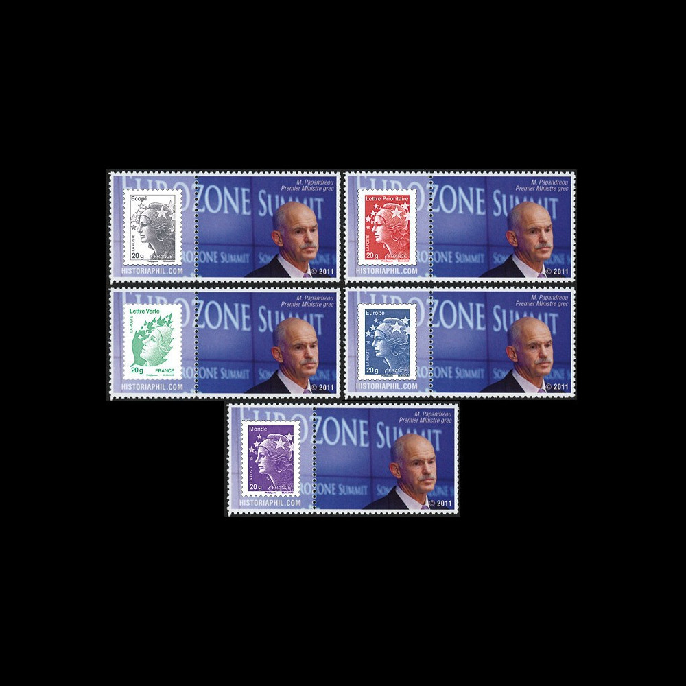 """PE608-PT1-5 : 2011 - 5 porte-timbre """"Parlement eur. : M. Papandreou"""
