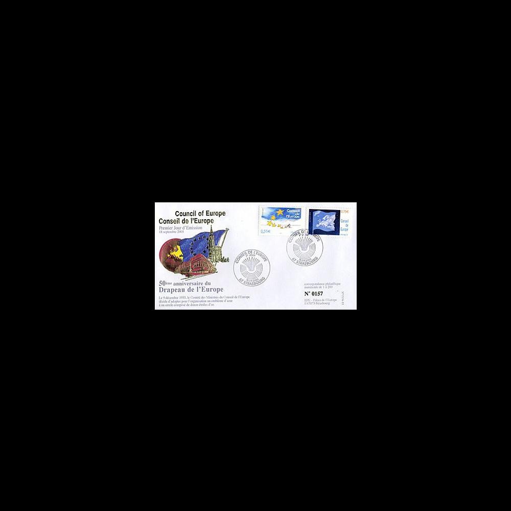 CE56-PJ : 2005 - 1er Jour des timbres de service du Conseil de l'Europe