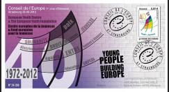 """CE63-PJ : 2012 - FDC 1er Jour du timbre de service Conseil de l'Europe """"40 ans Jeunesse"""""""
