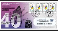 """CE63-PJa : 2012 - FDC RECO 1er Jour TP de service Conseil de l'Europe """"40 ans Jeunesse"""""""
