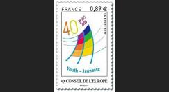 "CE63-PJN : 2012 - 1 valeur timbre de service Conseil de l'Europe ""40 ans Jeunesse"""