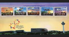 """A380-178N : 2011 - Série 5 valeurs SINGAPOUR """"Centenaire de l'Aviation à Singapour - Airbus A380"""""""