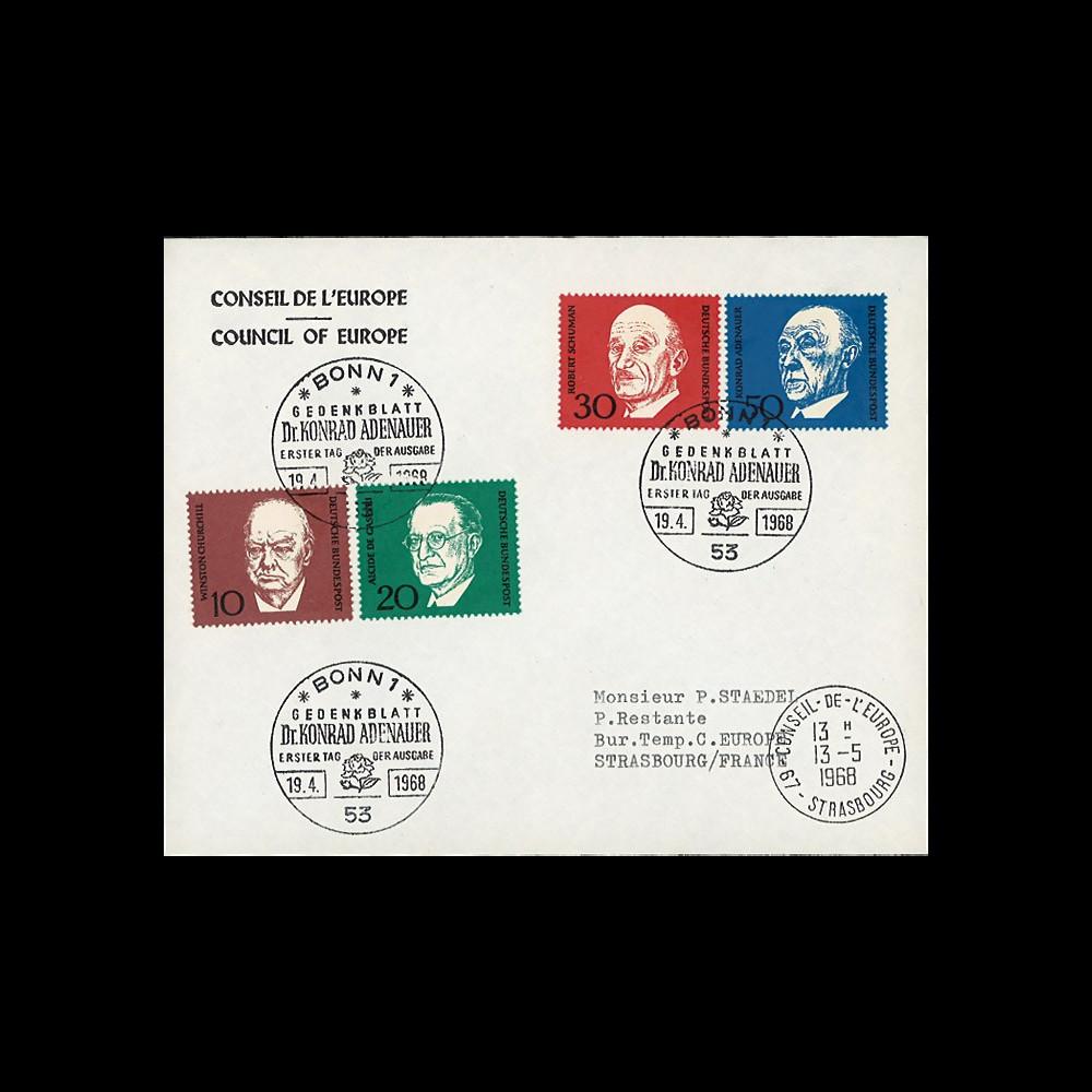 AL68-ADEO : 1968 - FDC 1er Jour Allemagne Adenauer / Churchill / de Gasperi / Schuman