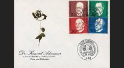 AL68-AD3 : 1968 - FDC 1er Jour Allemagne Adenauer / Churchill / de Gasperi / Schuman