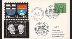 AL38 : 1962 - FDC Expo franco-allde FRALEX 1962 Bonn / Visite officielle du Pdt de Gaulle