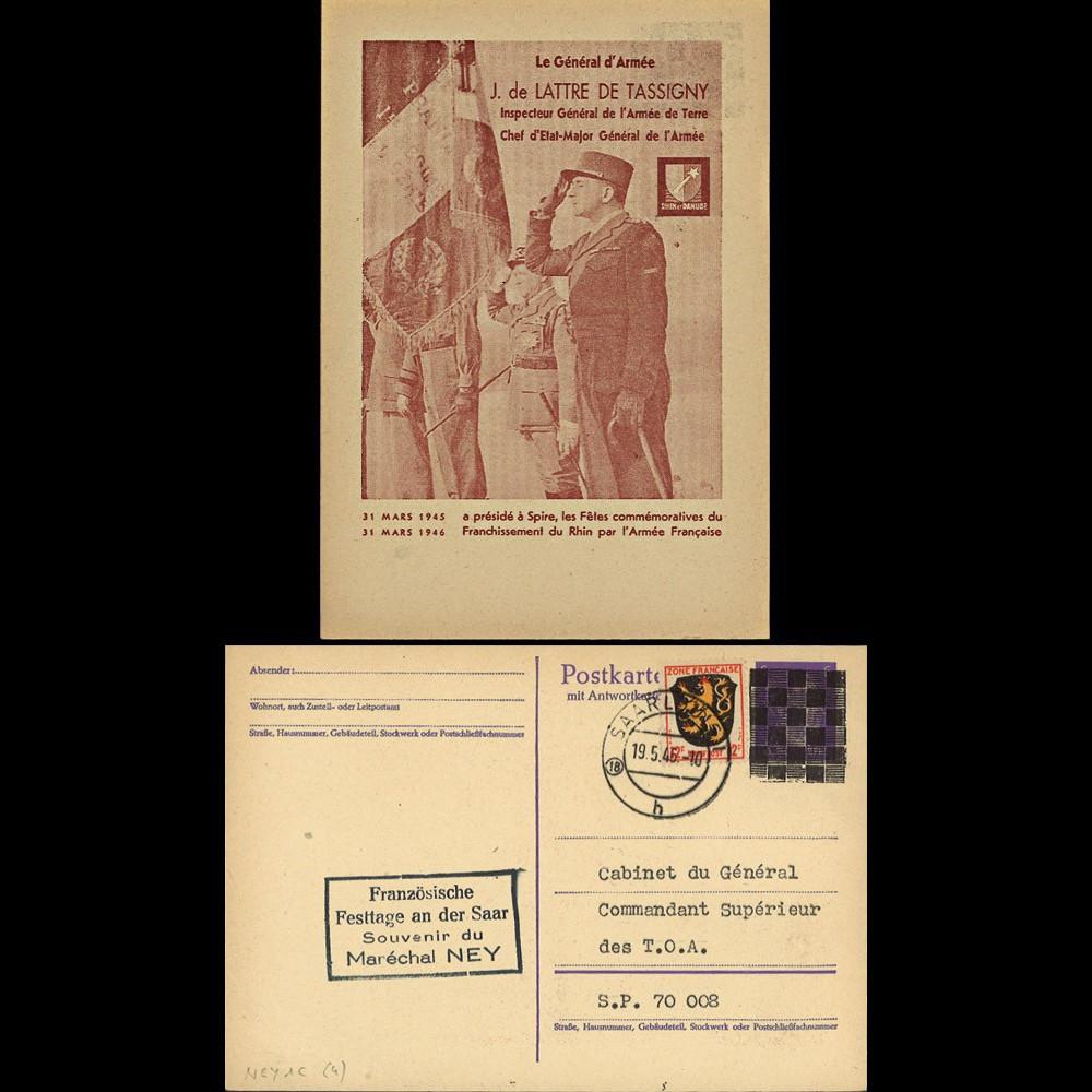 NEY46-1C : 1946 - France Entier postal de Lattre de Tassigny - 6Pf violet Hitler en cage