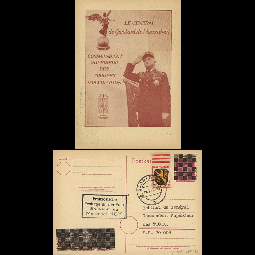 NEY46-3F : 1946 - France Entier postal de Goislard de Monsabert - 6Pf rose Hitler en cage