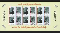 FRAL-2FND : 1962 Feuillet EUROPA Vive l'amitié franco-allemande / de Gaulle et Adenauer