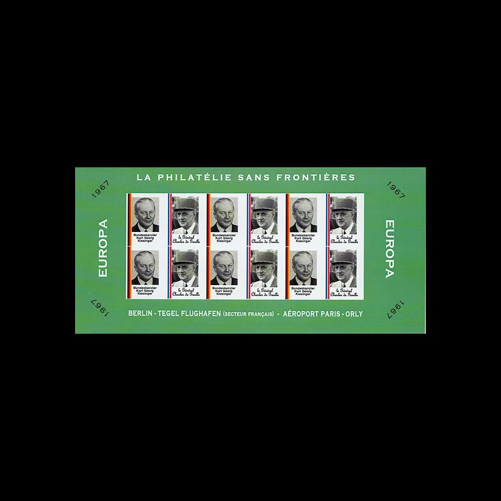 FRAL-9FND : 1967 - Feuillet EUROPA - La philatélie sans frontières / de Gaulle et Kiesinger