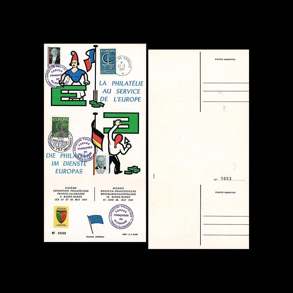 FRAL-7 : 1967 - Triptyque Baden Baden EUROPA - Exposition FFA / de Gaulle et Kiesinger