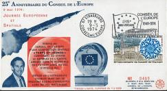 CE26E : 1974 - FDC 25 ans Conseil de l'Europe - Apollo XVI - drapeau de l'Europe sur la Lune