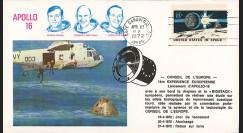 APOLLO-16C : 1972 - FDC Mission Apollo XVI - drapeau de l'Europe à son bord - Biostack