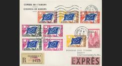 CE14-PJ1-9M : Env. Exprès-RECO 1er Jour timbres Conseil de l'Europe N°7/9 14.01.1963