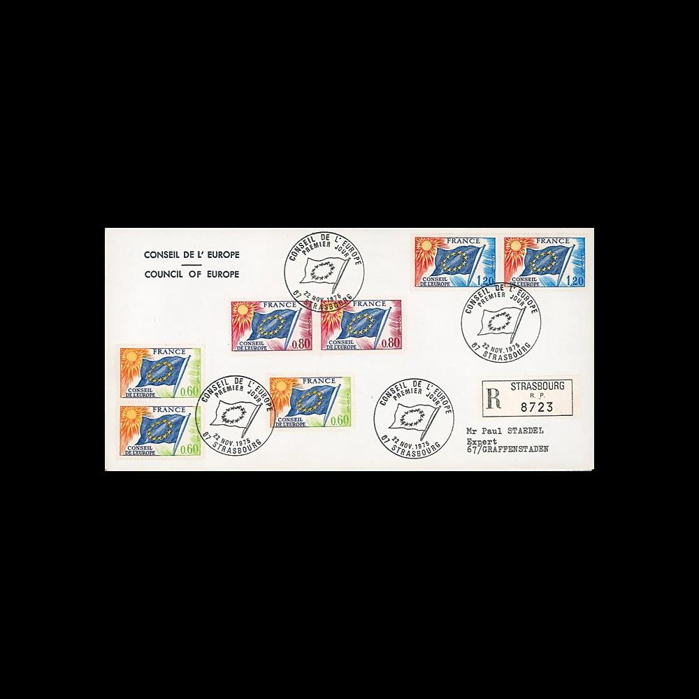 CE26-PJa : Enveloppe RECO 1er Jour timbres de service Conseil de l'Europe 22.11.1975