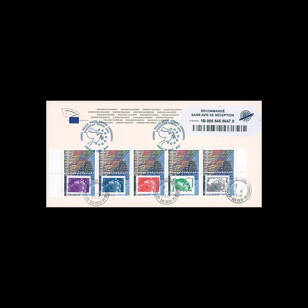 PE626a : 2012 - FDC RECO Parlement européen Remise Prix Nobel de la Paix à l'UE - Oslo