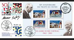 """PE628 : 2013 - FDC 1er Jour France-Allemagne """"50 ans Traité Elysée"""" - brigade franco-allde"""