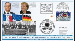 "PE630T1 : 2013 - FDC liaison Saarbrücken-Berlin ""50 ans Traité Elysée - Hollande / Merkel"""