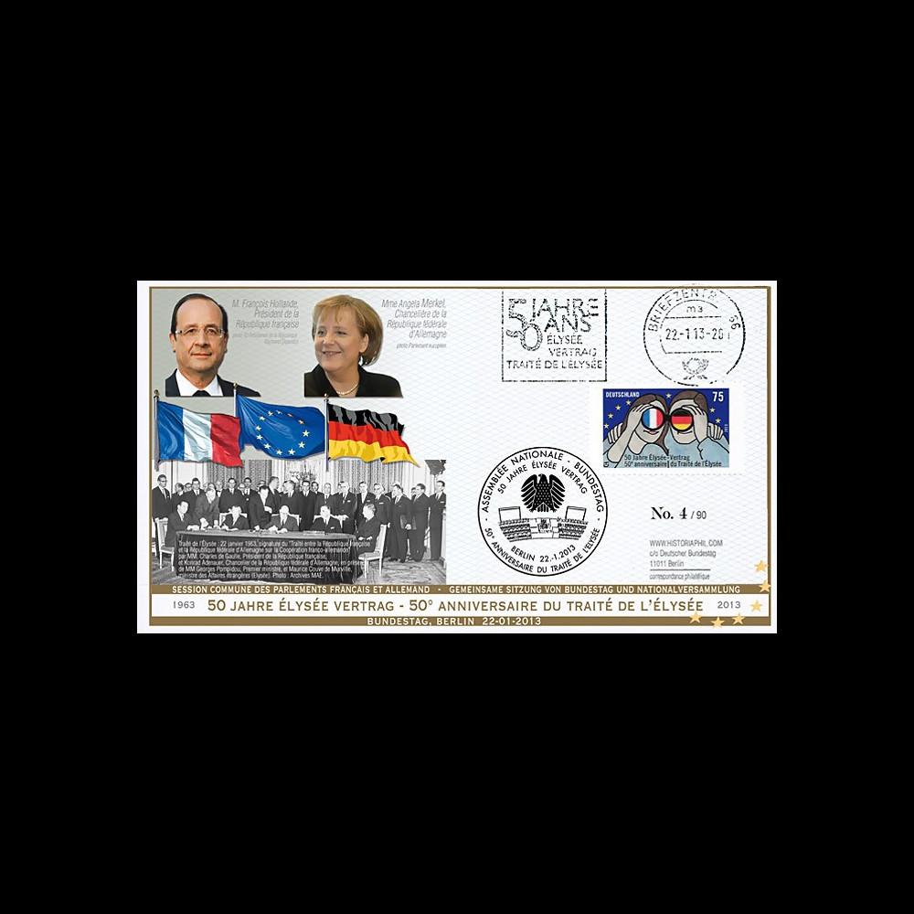 "PE630T2 : 2013 - FDC liaison Saarbrücken-Berlin ""50 ans Traité Elysée - Hollande / Merkel"""