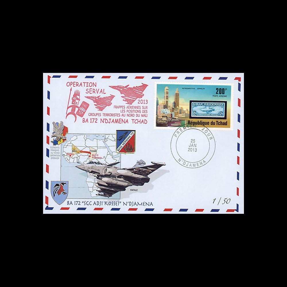 """MALI13-8 : 2013 - FDC TCHAD """"Opération SERVAL au Mali / Avion RAFALE - Force ÉPERVIER"""""""