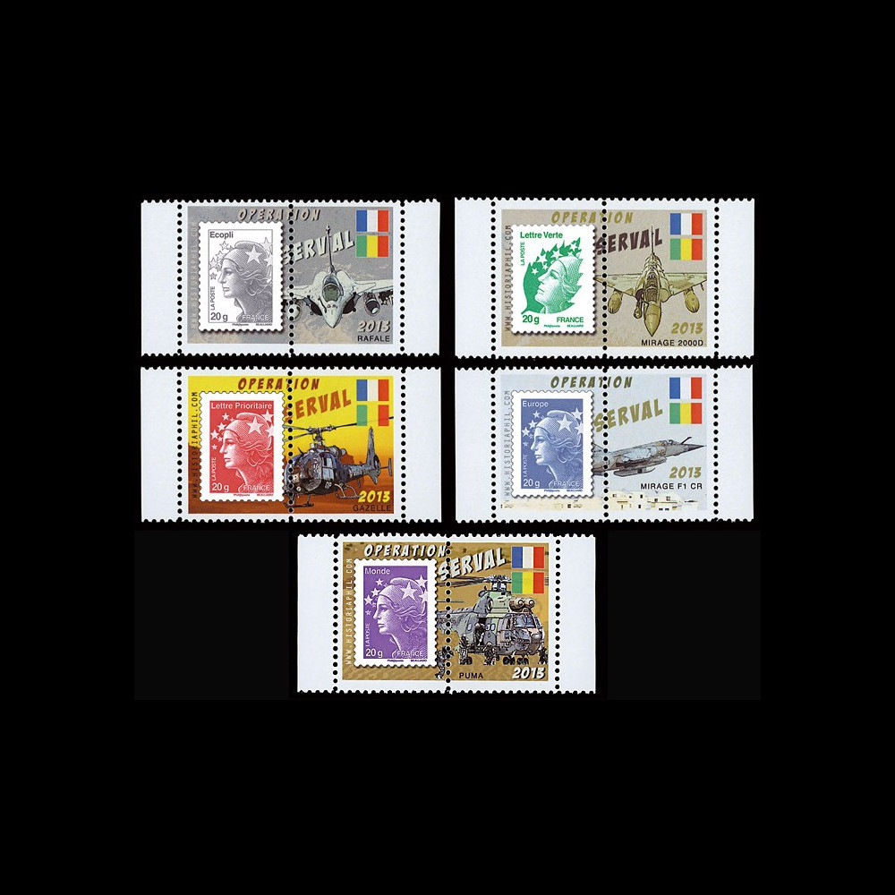 MALI13-PT1/5 : 2013 set Cinderella blocks Marianne OPERATION SERVAL MALI, Rafale