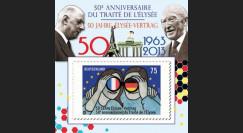 """PE634-PT : Porte-timbre """"50 ans Traité de l'Elysée - de Gaulle - Adenauer"""" 1 val. Allemagne"""