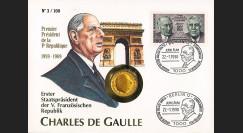 """DG90-NUM : 1990 - France-Allemagne FDC numismatique 1 Franc """"de Gaulle"""""""